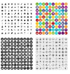 100 vacation spot icons set variant vector
