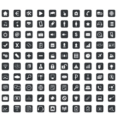 100 Webdesign icons set square black vector