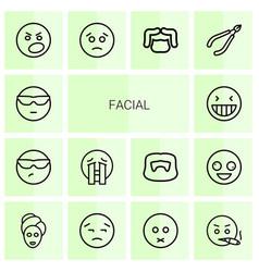 14 facial icons vector