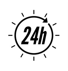 24 hours clock sign icon vector