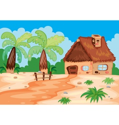 a hut in nature vector image