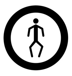 A man with crooked legs icon black color in vector