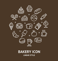 bakery sign round design template thin line icon vector image