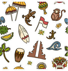 Bali icons seamless pattern vector