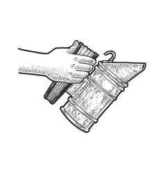 bee smoker sketch vector image