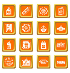 black friday icons set orange vector image