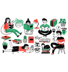 Books and readers happy people read and study vector