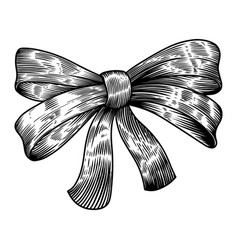 bow in engraving style isolated on white vector image