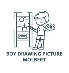 boy drawing picturemolbert line icon boy vector image