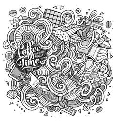 Cartoon hand-drawn doodles cafe coffee shop vector