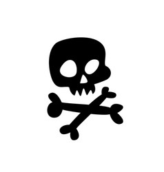 cartoon skull flat icon stylized human skull vector image