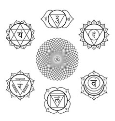 Chakras symbols set vector