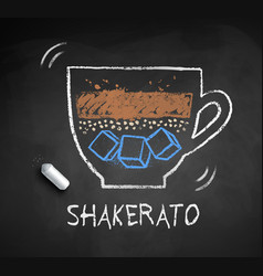 chalked sketch shakerato coffee vector image