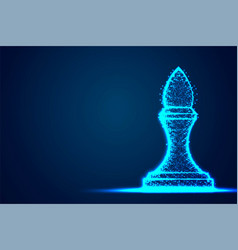 chess bishop wireframe polygon blue frame vector image