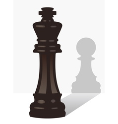 Chess king with the shadow of a pawn vector