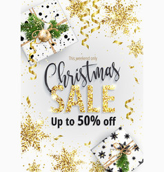 christmas sale white banner for web or flyer vector image