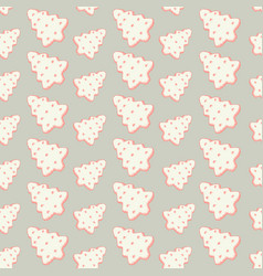 christmas seamless pattern with cookies or vector image