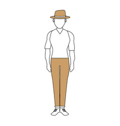 color silhouette image full body faceless explorer vector image