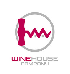 corkscrew wine house logo vector image