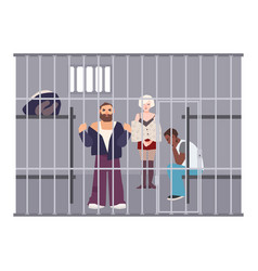 Criminals in cell at police station or jail vector