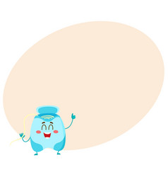 Cute and funny dental floss character giving thumb vector