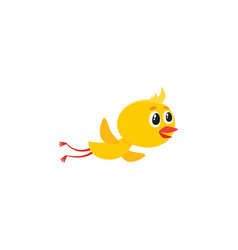 Cute baby chicken character flying flapping wings vector