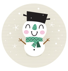 Cute retro Snowman boy in circle isolated on beige vector image