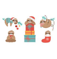 Cute sloths funny christmas vector
