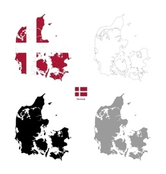 Denmark country black silhouette and with flag on vector