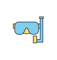 diving mask and snorkel summer icon line vector image