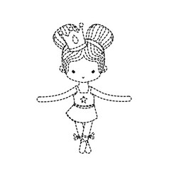 dotted shape girl practice ballet with two buns vector image