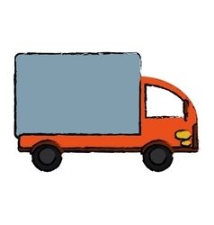 Drawing truck mini delivery cargo vector