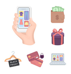 e-commerce purchase and sale cartoon icons in set vector image