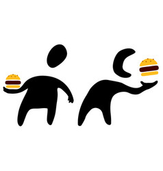 Fast food eater silhouette symbols vector