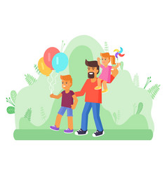 father with two children walking outdoors vector image