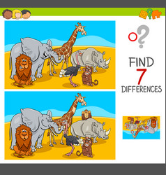 Find differences game with safari animals vector