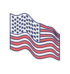 flag united states of america waving side color vector image