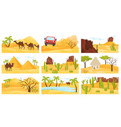 flat set of colorful desert landscapes with vector image
