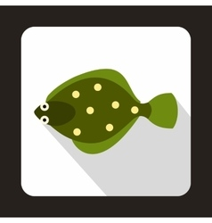 Flounder fish icon in flat style vector