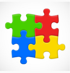 Four piece puzzle solution concept vector
