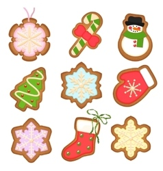 Gingerbread cookies Christmas decoration on vector image