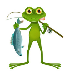 goggle-eyed frog fisherman vector image