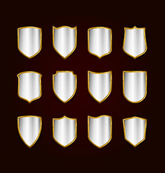 golden realistic shields icon set protection vector image