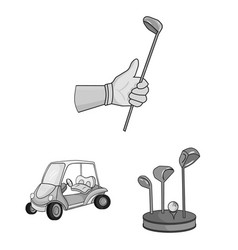 Golf and attributes monochrome icons in set vector