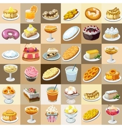 Great set of candys cakes and other sweets vector
