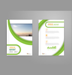 green curve cover annual report brochure vector image