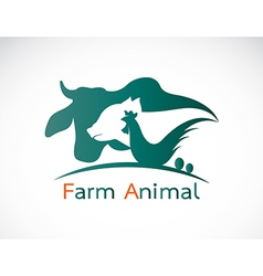 group animal farm label vector image