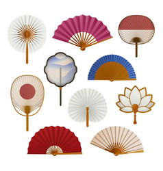 hand paper fan set oriental beautiful cooling vector image
