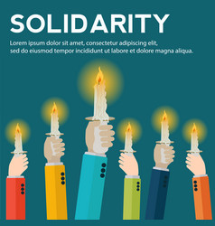 Hands raised holding candles in solidarity concept vector