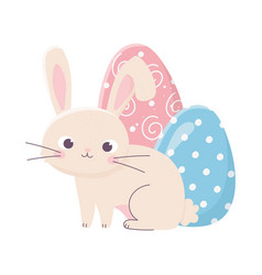 Happy easter cute rabbit with two egg decoration vector
